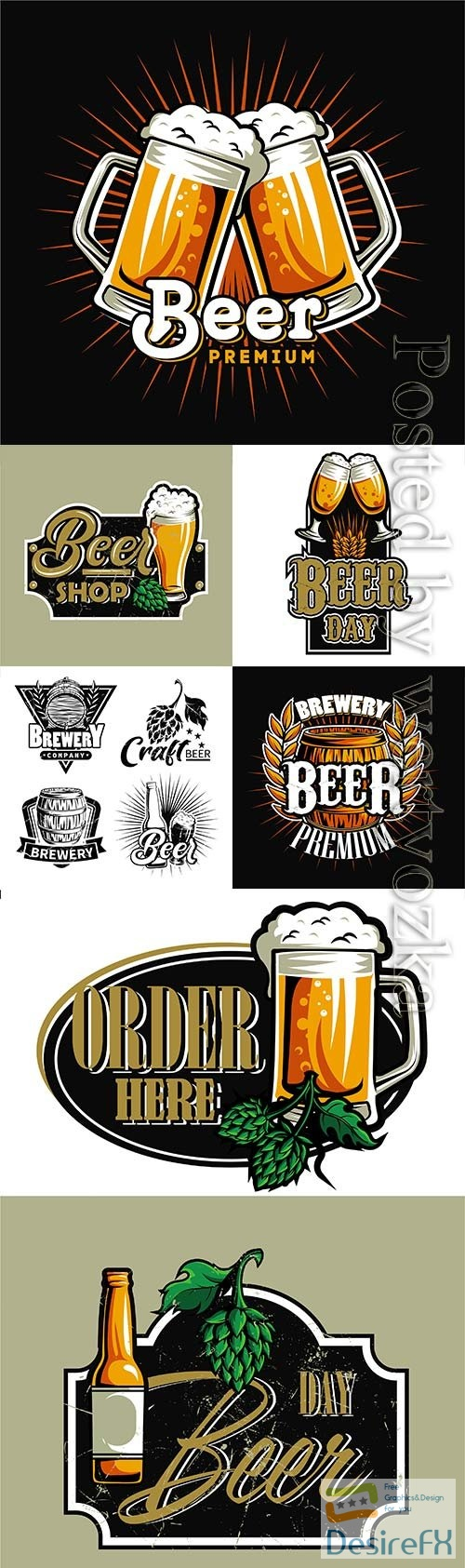Set of beer logos for design in vector