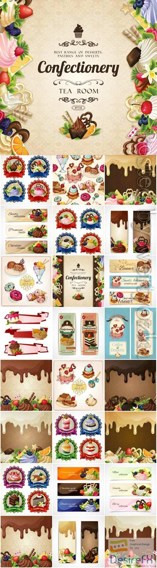 Backgrounds and banners with sweets, labels in vector
