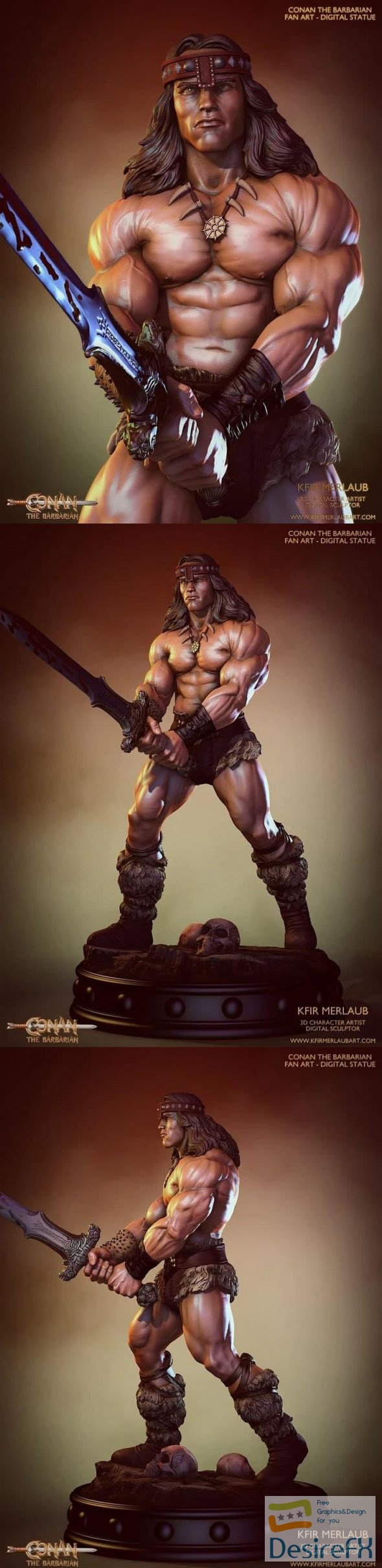Conan the Barbarian Statue 3D Print