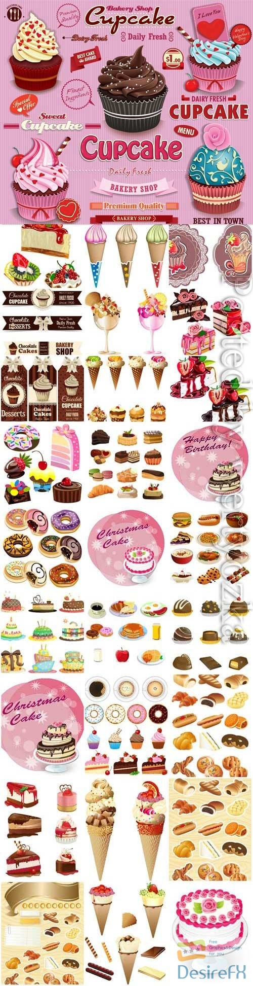 Desserts, ice cream cakes and various sweets in vector