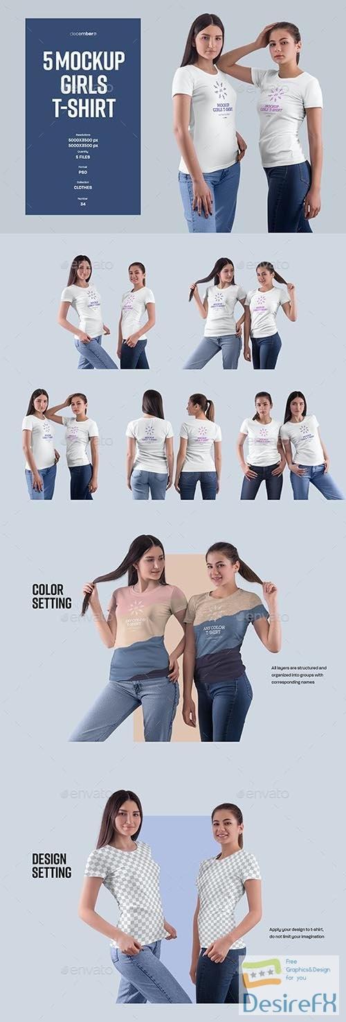 GraphicRiver - 5 Mockups Girls T-Shirt 32408836
