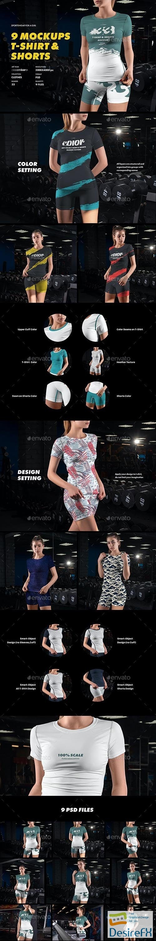 GraphicRiver - 9 Sports T-Shirts and Shorts Mockups 32271118