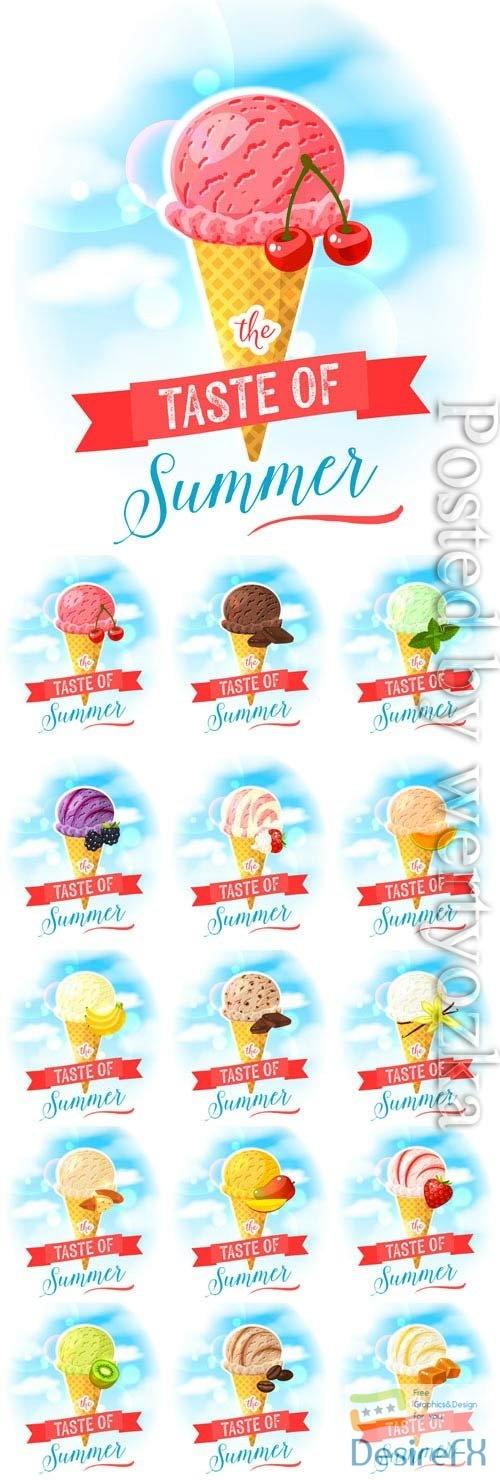 Ice cream assortment in vector