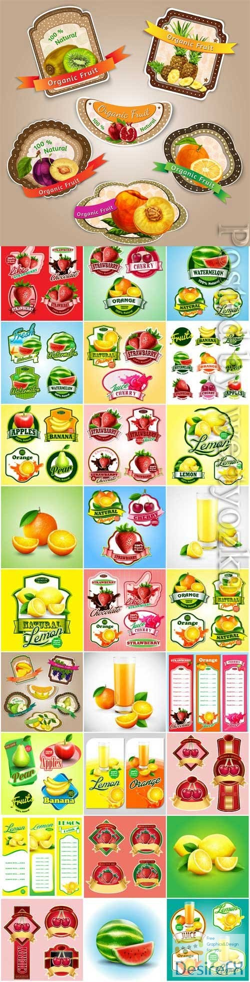 Labels and banners of fruits and berries in vector