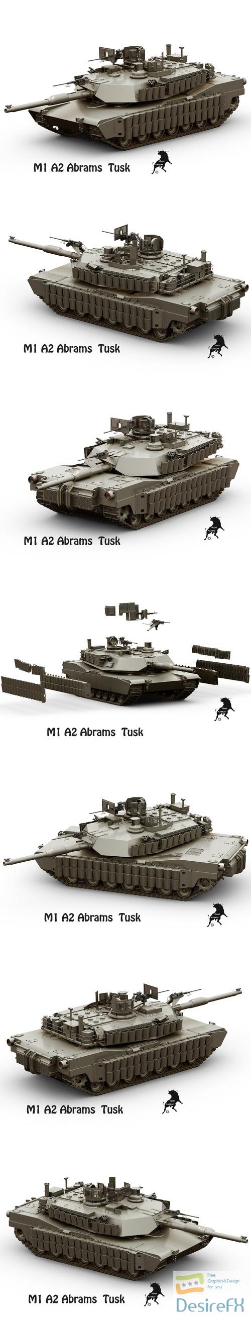 M-1 A2 Abrams Tusk Tank 3D Model