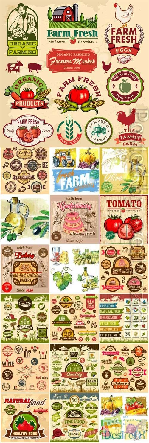 Retro grocery labels in vector