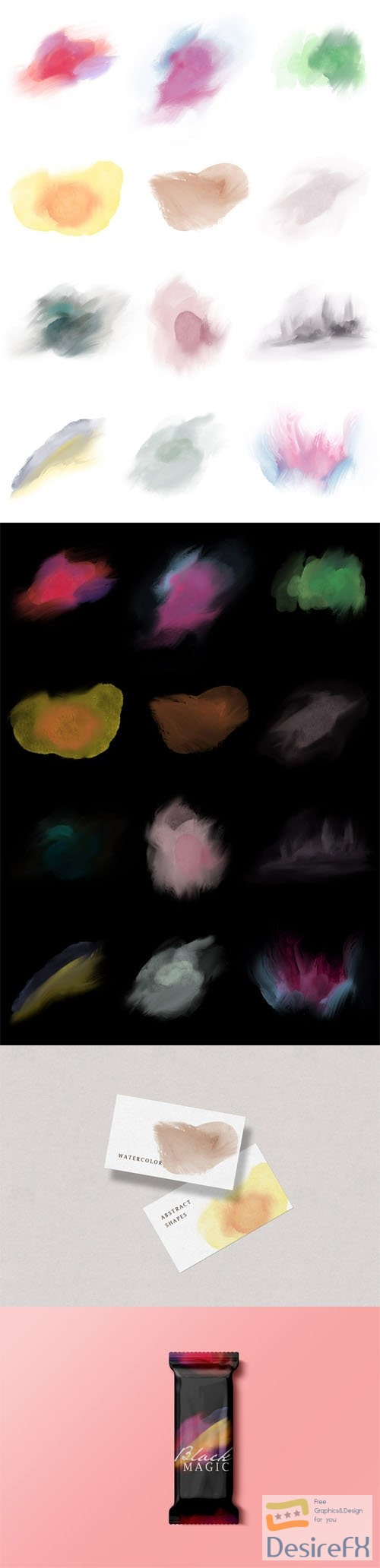 12 Hand-painted Watercolor Shapes Textures