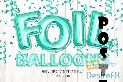 Aqua Foil Balloon Alphabet Clipart - 5757887