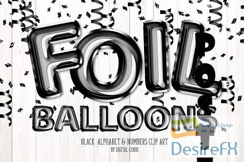 Black Foil Balloon Alphabet Clipart - 5757888
