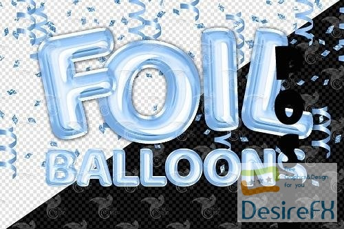 Blue Foil Balloons Alphabet Clipart - 5757890
