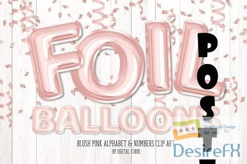Blush Foil Balloon Alphabet Clipart - 5757892