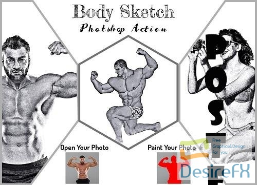 Body Sketch Photoshop Action - 6334657