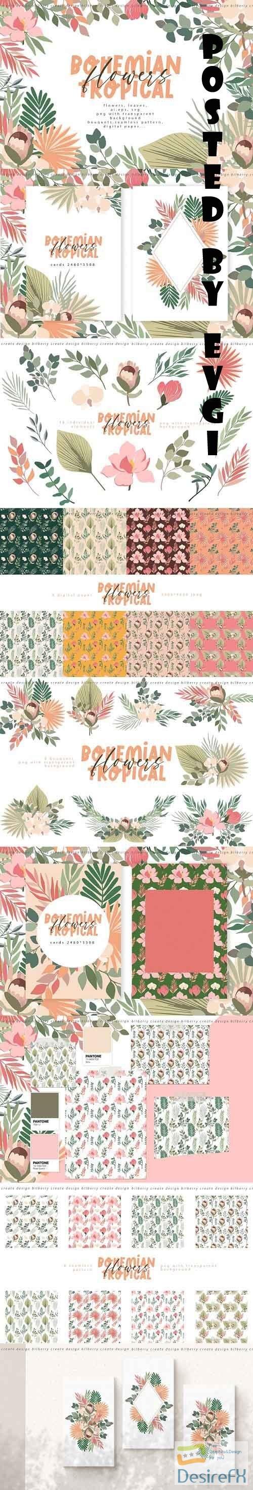 Bohemian tropical flowers - 6141901