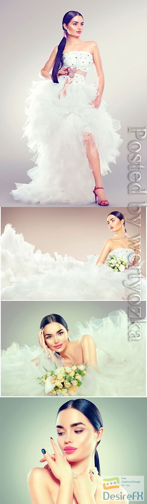 Bride in fashionable wedding dress stock photo