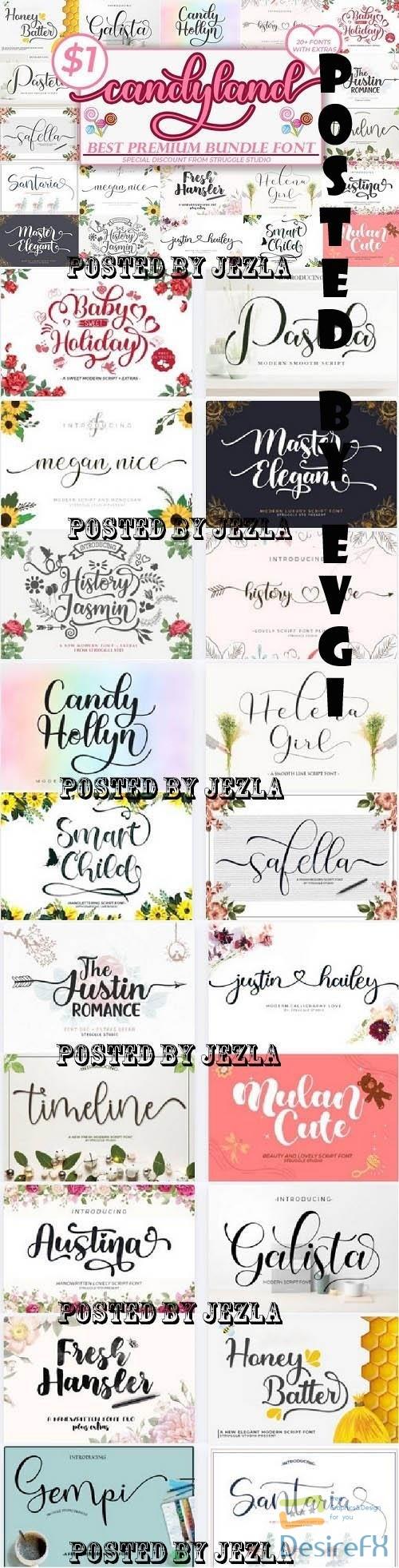Candyland - The Best Premium Font Bundle - 20 Premium Fonts
