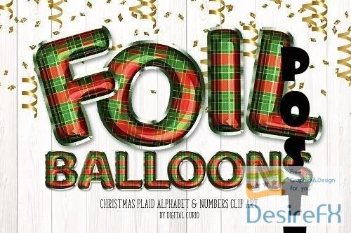 Christmas Plaid Foil Balloon Clipart - 5757912