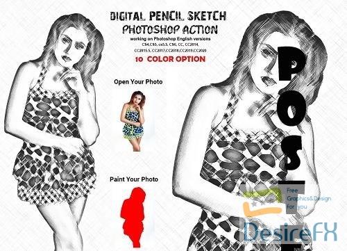 Digital Pencil Sketch PS Action - 6284365