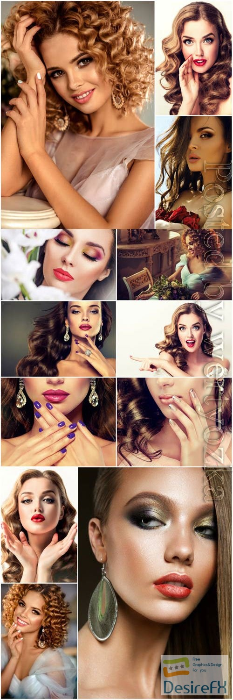Fashionable beautiful women stock photo