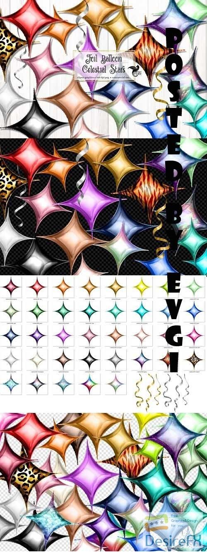 Foil Balloon Celestial Stars Clipart - 5757918