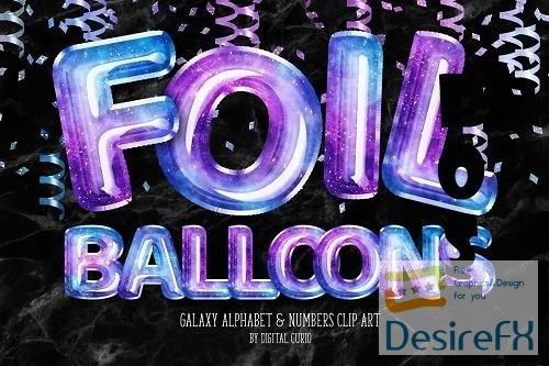 Galaxy Foil Balloon Alphabet Clipart - 5757922