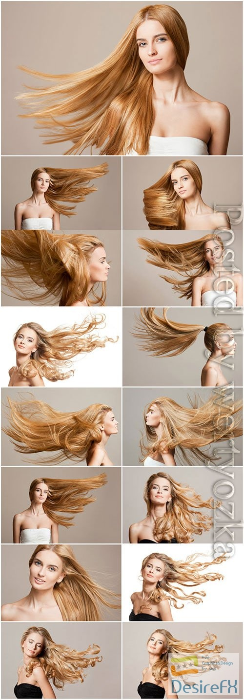 Girl with long blond straight hair stock photo