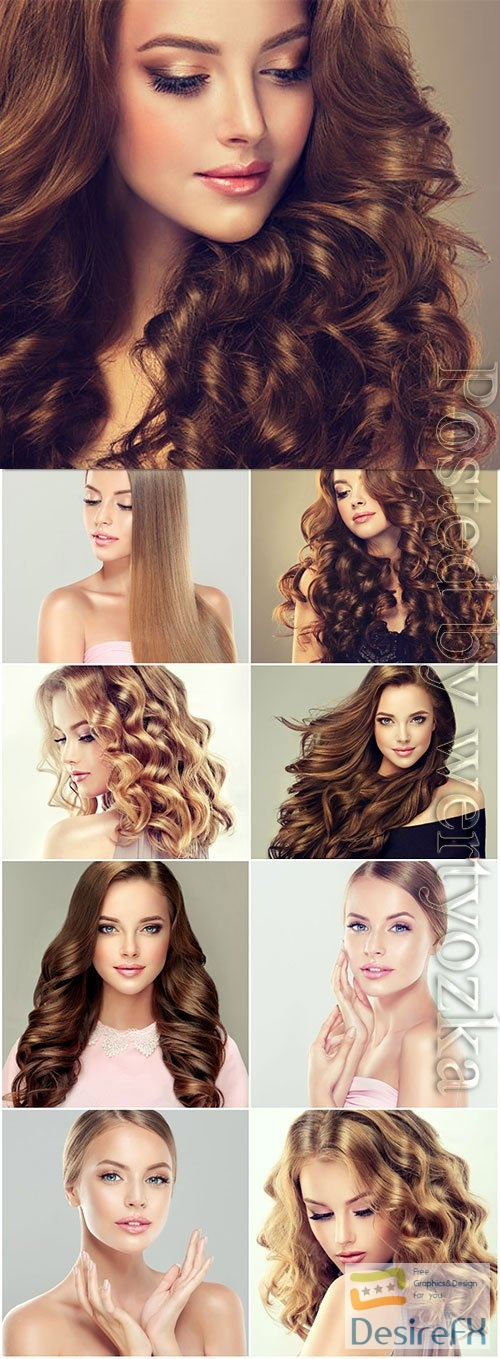 Girls with well-groomed skin and beautiful hair stock photo