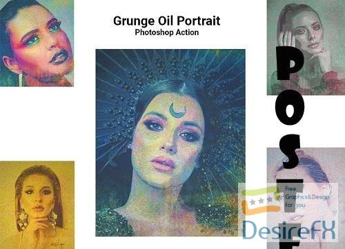 Grunge Oil Portrait Ps Action - 5128352