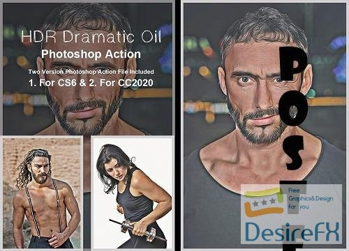 HDR Dramatic Oil Photoshop Action - 5383148