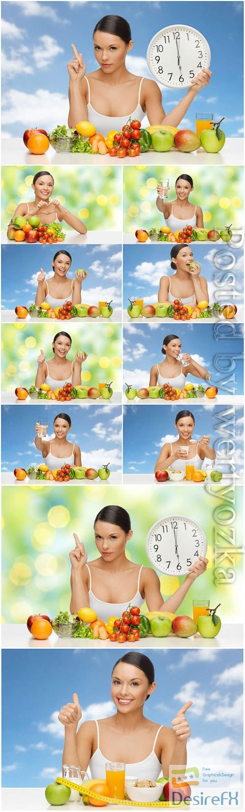 Healthy food concept, girl with fruits and vegetables stock photo