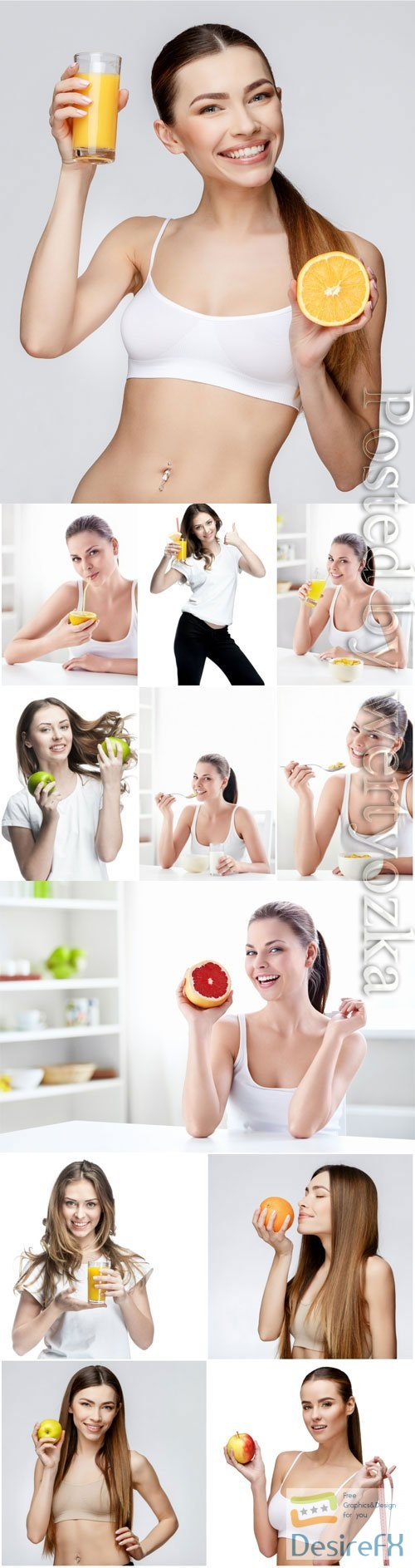 Healthy food, girls with fruits stock photo