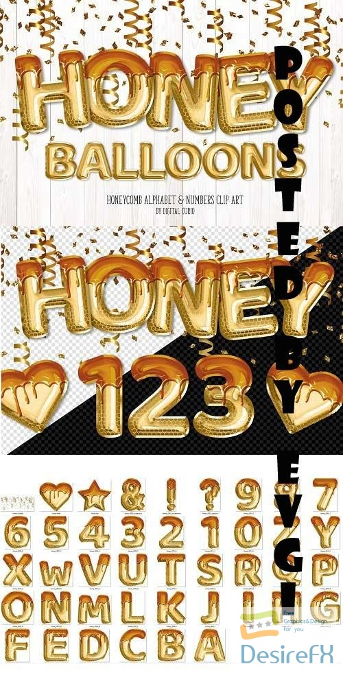 Honey Foil Balloon Alphabet Clipart - 5760675