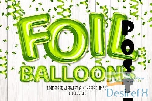 Lime Foil Balloon Alphabet Clipart - 5760699