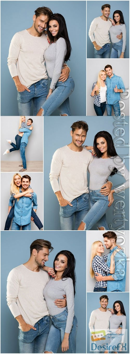 Man and woman in jeans stock photo