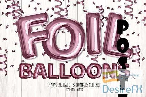 Mauve Foil Balloon Alphabet Clipart - 5760700