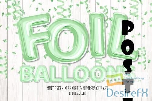 Mint Foil Balloon Alphabet Clipart - 5760706