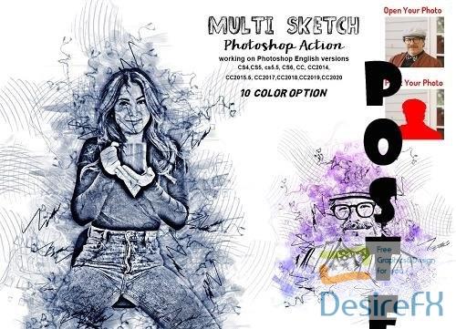 Multi Sketch Photoshop Action - 6296759