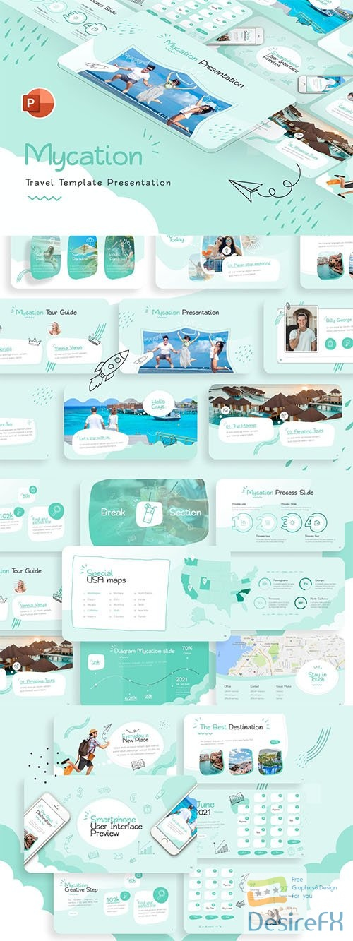 Mycation Travel Creative PowerPoint Template
