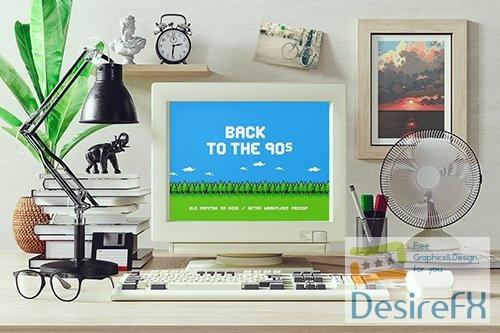 Old Monitor On Desk / Retro Workplace Mockup XB759R9 PSD