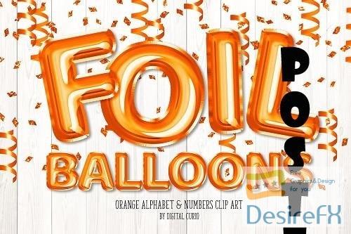 Orange Foil Balloon Alphabet Clipart - 5760729