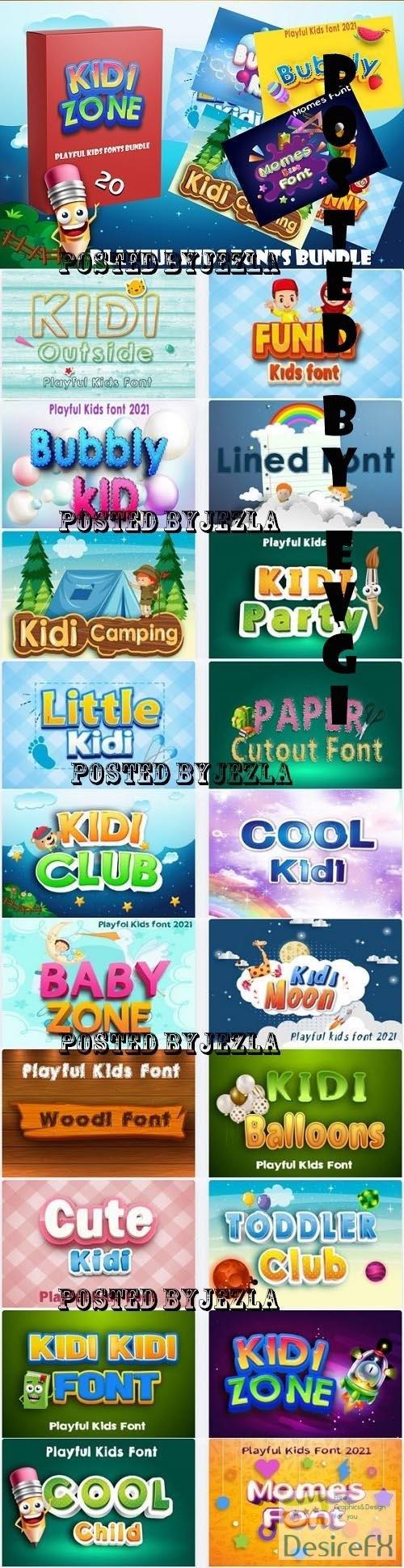 Playful Kids Fonts Bundle - 20 Premium Fonts