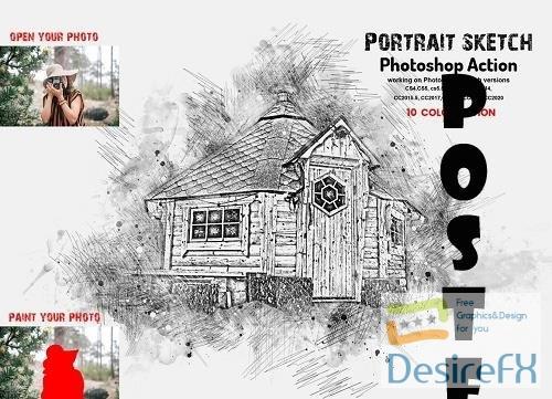Portrait Sketch Photoshop Action - 6301813