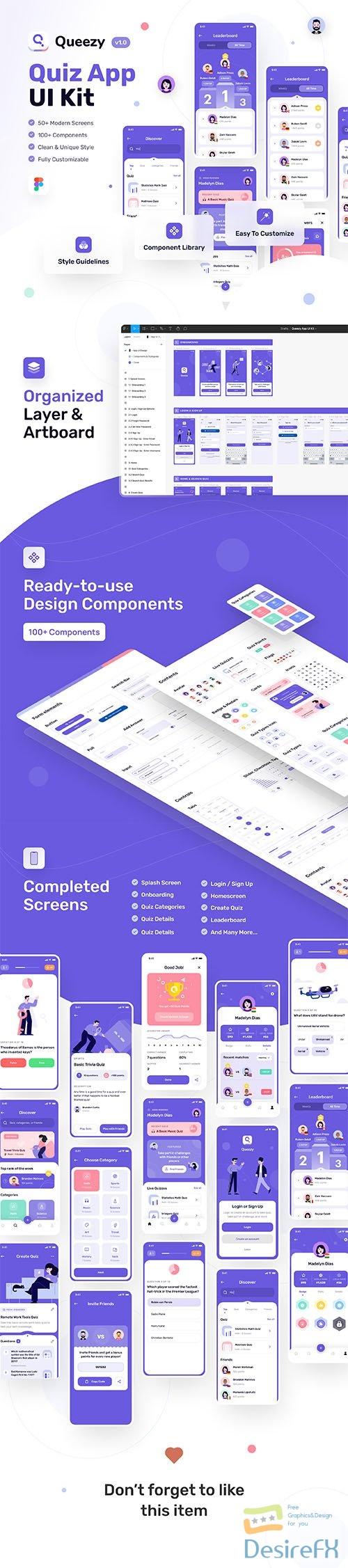 Queezy - Quiz App UI Kit - UI8