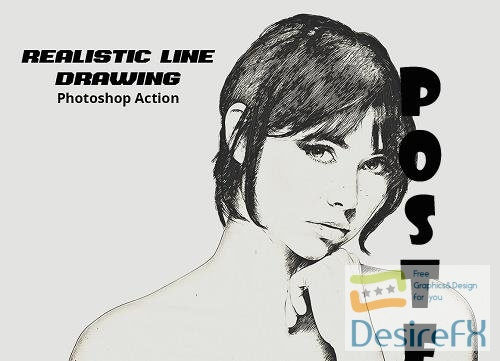 Realistic Line Drawing Ps Action - 5114632