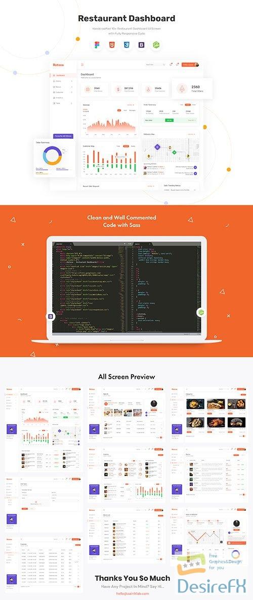 Retoza - Restaurant Dashboard (Design + Code) - UI8