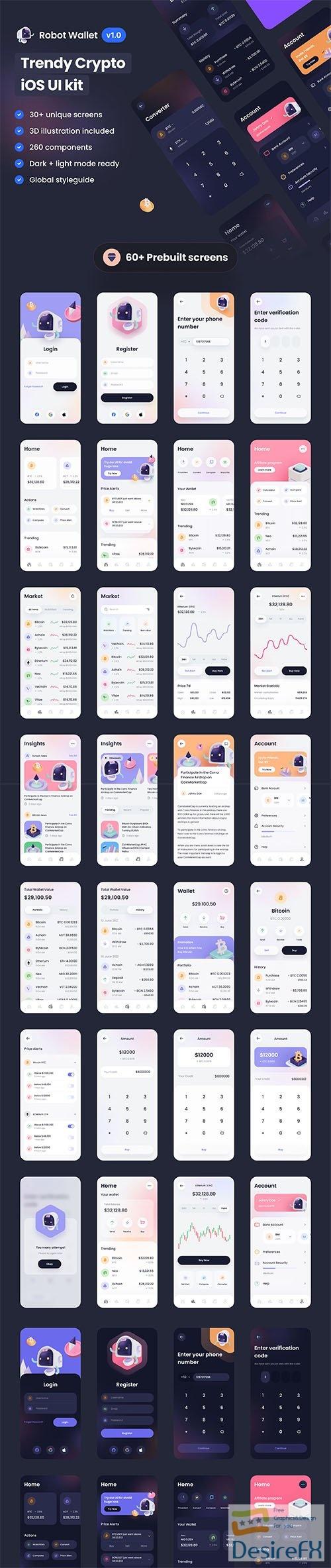Robot Wallet – Crypto iOS UI Kit - UI8