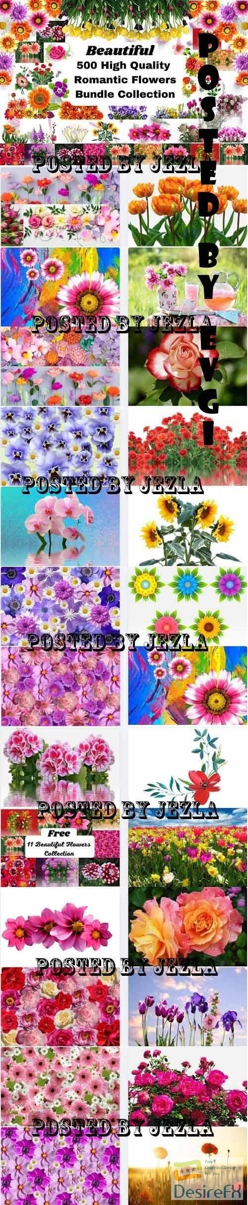 Romantic Flowers Bundle - 25 Premium Graphics
