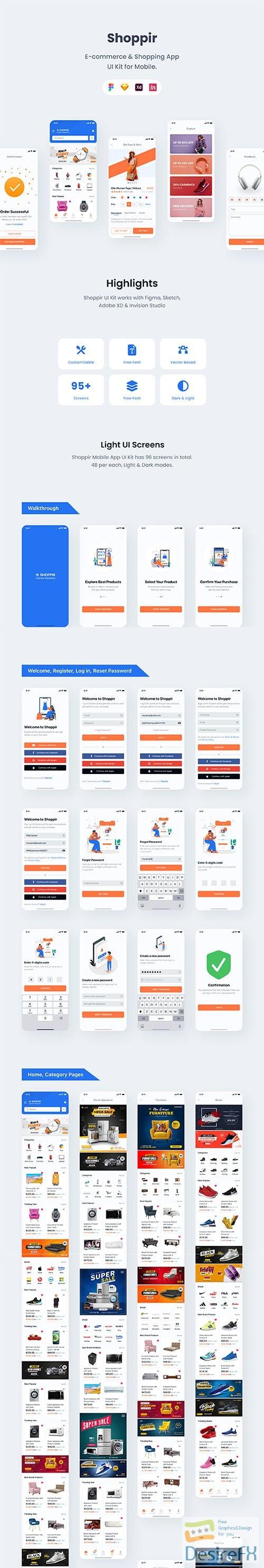 Shoppir - Shopping & E-commerce App UI Kit - UI8