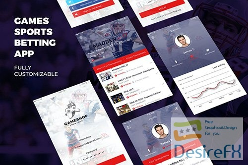 Sports, Bet and Game Mobile App UI Kit Template