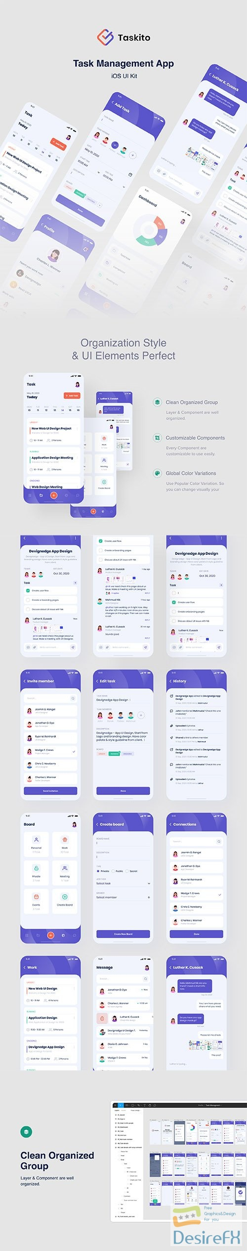 Taskito - Task Management App UI Kit - UI8