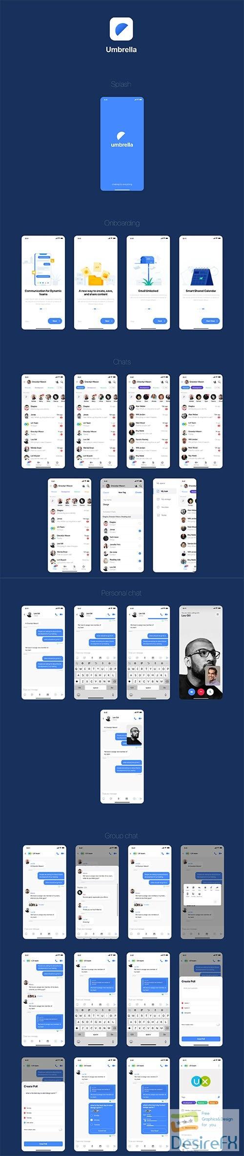 umbrella chat app UI kit - UI8